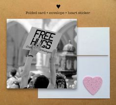 Blank photo card printed on recycled paper // shared with love // profits support clean water projects // love and free hugs sign in Germany (©hipydeus)