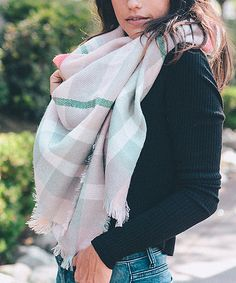 Light Pink Plaid Blanket Scarf How To Wear A Blanket Scarf, Plaid Blanket Scarf, Metallic Pink, Womens Scarves, Preppy, Autumn Fashion, Collection, Fall Accessories, Scarfs
