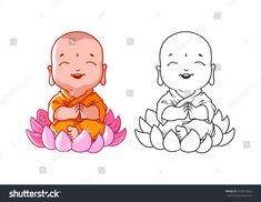 Little cartoon monk on the lotus. Page for coloring book. Vector illustration isolated on a white background. Buddha Tattoo Design, Buddha Tattoos, Buddha Drawing, Buddha Painting, Mandala Drawing, Buddha Kunst, Buddha Art, Baby Buddha, Little Buddha