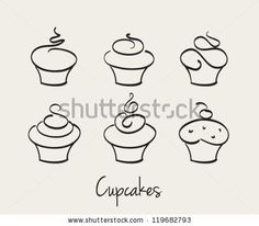 Cupcake set hand drawn vector by Zorana Matijasevic, via ShutterStock