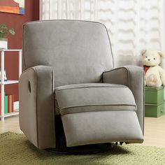 Colton Gray Fabric Modern Nursery Swivel Glider Recliner Chair   Overstock.com Shopping - The Best Deals on Recliners