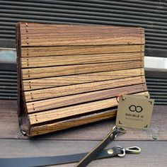 DOUBLE O handmade wooden clutch ▲Manufactured by hand out of Zebrano wood & Real leather, in Crete Greece ▲Hypo-allergenic paint is spread on the wood , for extra smoothness and hydro-protection *********************************************************** Leather Gifts, Leather Craft, Real Leather, Wooden Purse, Handmade Wooden, Handmade Leather, Etsy Handmade, Wood Stone, Crete Greece