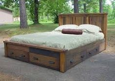 rustic king bed platform drawers - Google Search