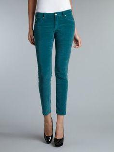 MiH Jeans Breathless low rise velvet skinny jean Teal
