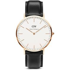 Daniel Wellington Classic Sheffield Watch, 40mm (13.560 RUB) ❤ liked on Polyvore featuring jewelry, watches, accessories, bracelets, black, fillers, dial watches, daniel wellington watches, leather band watches and daniel wellington
