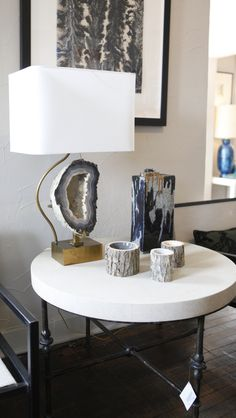 Geode + brass lamp at William-Christopher Design in Dallas. Home Lighting, Lighting Design, Luxury Lighting, Unique Lighting, Condo Decorating, Interior Decorating, Crystals In The Home, Living Comedor, Crystal Decor