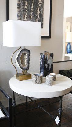 Geode + brass lamp at William-Christopher Design in Dallas.