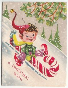 Vintage just dropping in christmas card with little elves hanging northern passages christmas greeting cardsvintage m4hsunfo