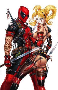Harley Quinn and Deadpool by J. Tyndall & *sinhalite