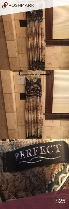 """Beautiful maxi dress """"Perfect"""" maxi dress. Blue and brown with a gorgeous racing back. Wore on two vacas. Dresses Maxi"""