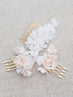 Silk flower hair combs 'Meadowsweet' by Blackbirds Pearl – A Sublime New Bridal Accessories Collection   Love My Dress® UK Wedding Blog