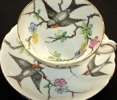 Stanley tea cup with bird and flower pattern. I am absolutely in LOVE with this one Antique Tea Cups, Vintage Cups, Vintage Tea, Tea Cup Set, My Cup Of Tea, Tea Cup Saucer, Teapots And Cups, Teacups, Cuppa Tea