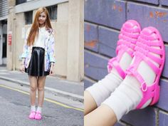Pink Jelly Sandals! (by Jody N) http://lookbook.nu/look/4768259-Jbeans-Sportsgirl-Blazer-Pink-Jelly-Sandals