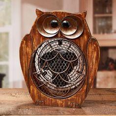 Funky Wood Owl Shaped Fan