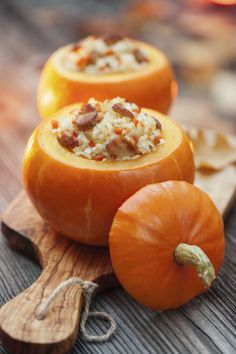 "Make dinner inside a pumpkin ""bowl"" this fall. Get the recipe for baked stuffed pumpkin. Baked Pumpkin, Pumpkin Recipes, Fall Recipes, Stuffed Pumpkin, Pumpkin Dishes, Pumpkin Ideas, Christmas Main Dishes, Christmas Lunch, Sweet Italian Sausage"