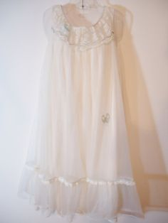 True Vintage 50s / 60s Retro Nightgown White, Sheer, Nylon Silk Slipdress with Cute Girly Baby Blue Bows, Lace, & Frilly Ruffle Trim. Lolita Kawaii