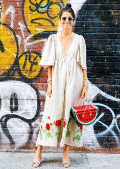 look com bolsa de palha tendência street slyle melancia divertida