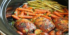 Sharing Is Caring!3.4k302170With A Trio Of Veggies. Toss it all in your slow cooker. Mix and add the special sauce that is quick and easy to make. Then let these chicken thighs with potatoes, carrots, and green beans simmer in the sauce for that long and slow delectable taste sensation. Nothing to do after that …