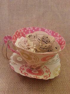 Paper tea cup ornament.