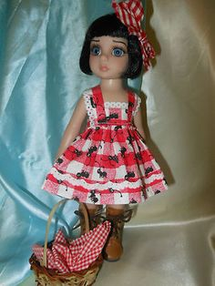 Ants at my picnic, dress, bow, basket fit 10 in. Tonner Patsy, Ann Estelle, Kish Bethany, BJD dolls. click Pic twice for ebay