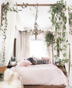 Pale pink bohemian bedroom design