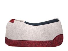 5 Star Equine Products 100% Virgin Wool Natural Saddle Pad with Custom Full Length Red Leaf Wear Leathers www.5StarEquineProducts.com