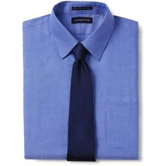 Lands' End Men's Tall Tailored Fit Solid Supima No Iron Pinpoint... ($60) ❤ liked on Polyvore featuring men's fashion, men's clothing, men's shirts, blue, mens tailored shirts, mens cotton dress shirts, mens wicking shirts, lands end mens shirts and mens cotton shirts