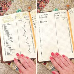 Bullet journal gratitude tracker, rate your day, self care. @discoverbulletjournal_planners
