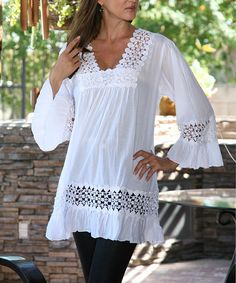 Look at this #zulilyfind! White Cutout Tunic #zulilyfinds