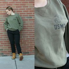 USMC Military Green Crew Neck Sweater Composition: %50 Cotton %50 Polyester  Inches Total Length: 24 Inches From Armpit To Armpit: 21.5 Condition/Flaws: Good Condition but has a lived in vibe.  NO TRADES NOT FROM LISTED BRAND For Reference I am 5?3 and 130 pounds. Urban Outfitters Sweaters Crew & Scoop Necks