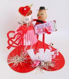 Vintage Valentines Day Couple in Love Valentines Day Decoration Spun Cotton Head