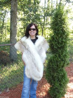 VINTAGE FOX FUR STOLE PLUSH NATURAL RED WHITE 8 BY 1 FOOT EXQUISITE GLAMOUR