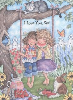 View all images at Baby & Kids folder Sarah Kay, Love You Sis, Love My Sister, My Love, Holly Hobbie, Play Mobile, Pretty Art, Cute Art, Cute Images