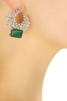Silver plated green square stone round earrings by Shrruti Tapuria for Whatever…