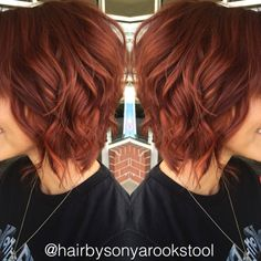 Bright vibrant red and copper balayage
