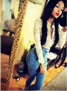 High Waist Jeans & Blouse