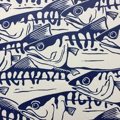This is an open edition original hand pulled Linocut Print of a shoal of Mackerel in Prussian Blue. The print is taken from one of my hand drawn designs which has been transferred and then carved in to a sheet of Art Linoleum using specialist tools. The carved surface is then