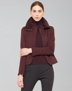 Akris punto Wool Jersey Jacket with Detachable Collar