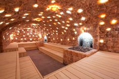 Sauna built into a salt cave in the Netherlands. x my gym had a salt block wall steam room, it was really cool until the wall fell over from water erosion design flaw I don't know what. Spa Design, Design Sauna, Design Ideas, Sauna Steam Room, Sauna Room, Himalayan Salt Room, Sauna A Vapor, Sauna Hammam, Globe Picture