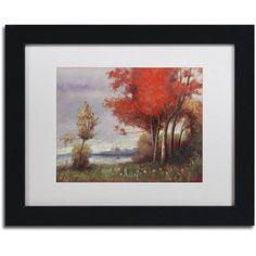 Trademark Fine Art Landscape with Red Trees Canvas Art by Daniel Moises, White Matte, Black Frame, Size: 11 x 14