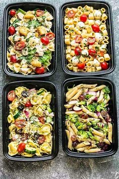 These are the Four Most Popular Pasta Salads that everyone looks for. Caprese, Chicken Caesar, Greek Tortellini and Broccoli Pasta Salad. They are the perfect side dish to bring to summer potlucks, parties, Memorial Day / Fourth of July grillouts/barbecue High Protein Meal Prep, High Protein Recipes, Protein Foods, Healthy Chicken Recipes, Easy Healthy Recipes, Healthy Snacks, Easy Meals, Recipe Chicken, Keto Recipes