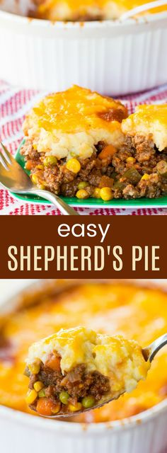 Shepherd's Pie - an easy recipe for the classic meat and vegetable casserole topped with cheesy mashed potatoes. Always a family-favorite comfort food meal, and it's gluten free.