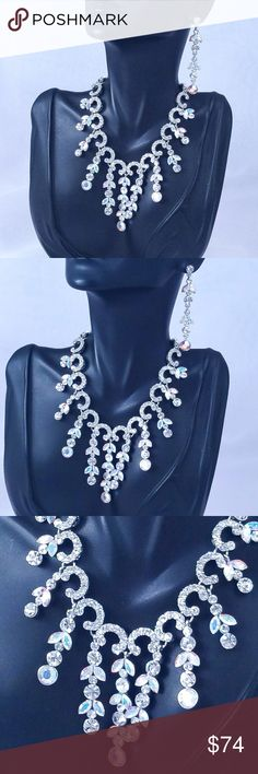 Swarovski Crystal w AB Accents Necklace Set Special Occasion Jewelry perfect for Prom, Pageant, Cocktail Party, Formal, Ball, Quinceanera, Wedding or other Special Event.  *Shipping is quick, carefully packaged and FREE for 3+ items! (Use the bundle feature for FREE SHIPPING) *Additional discounts are available for multiple item purchases. *Offers and questions are welcome.  Thanks for stopping in. Hope to see you again! :-) Jewelry Necklaces