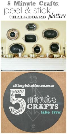 5 minute crafts peel and stick chalkboard platters
