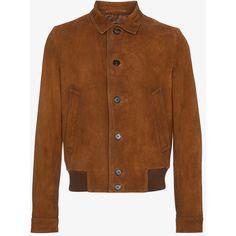 Prada Goat Skin Suede Bomber Jacket (10.545 BRL) ❤ liked on Polyvore featuring men's fashion, men's clothing, men's outerwear, men's jackets, brown, prada mens jacket, mens brown leather bomber jacket, mens brown jacket, mens suede leather jacket and mens suede jacket