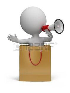 3D. Personaje en una bolsa, con un megáfono en la mano. Imagen 3D. Aislado fondo blanco. photo