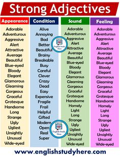 Strong Adjectives List in English - English Study Here For remaining words visi. List Of Adjectives, English Adjectives, English Vocabulary Words, Learn English Words, English Phrases, English Study, English English, Adjective List, Teaching English Grammar