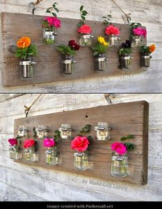 Baby food jar Vases... Bigger mason jars for srews, bolts, etc. in tool shed....