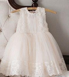 "The ""Kate"" Lace Flower Girl Dress Ivory Pink"