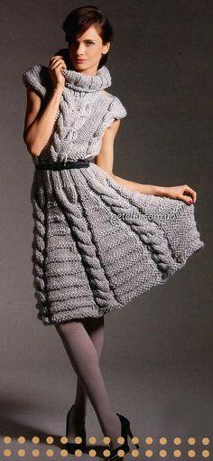 Креативное вязание. Платье с косами. Описание, схемы, выкройка